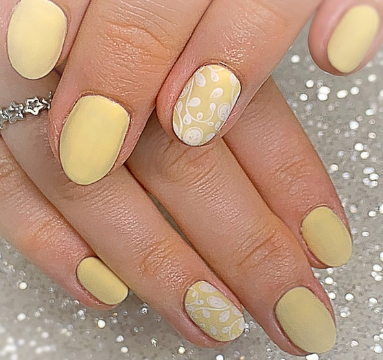 The Gel Bottle in matte finish with stamping on natural nails