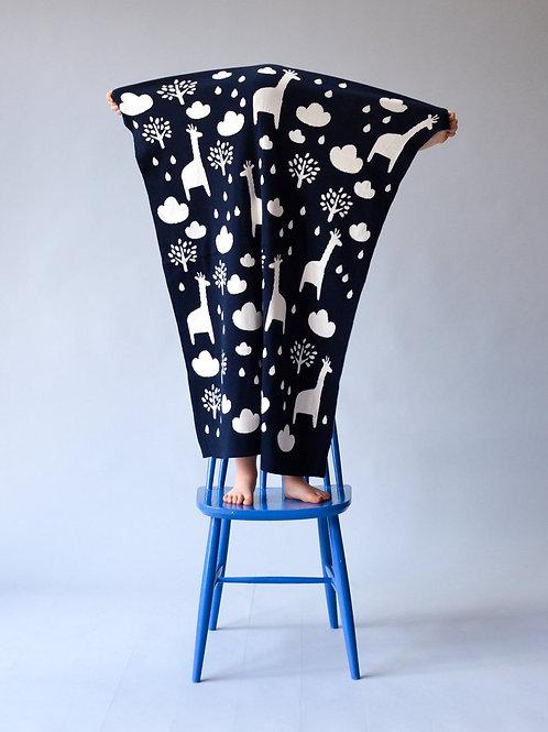 Sophie Home - Navy Giraffe Baby Blanket