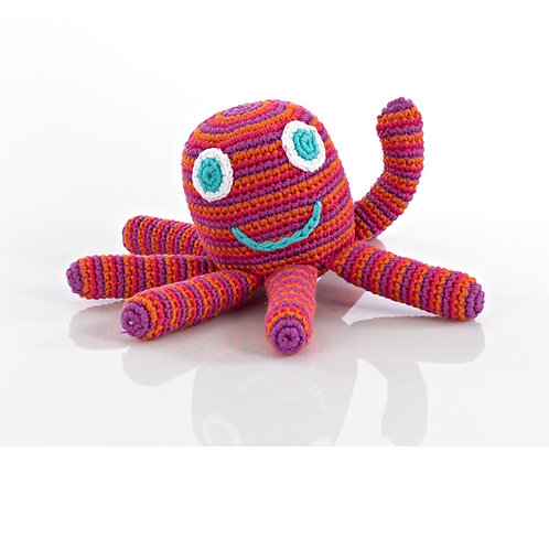 Pebble - Octopus rattle hot pink
