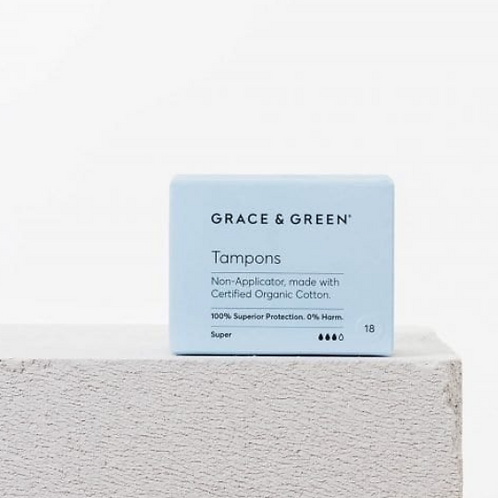 Grace and Green - Organic Non-Applicator Tampons Super