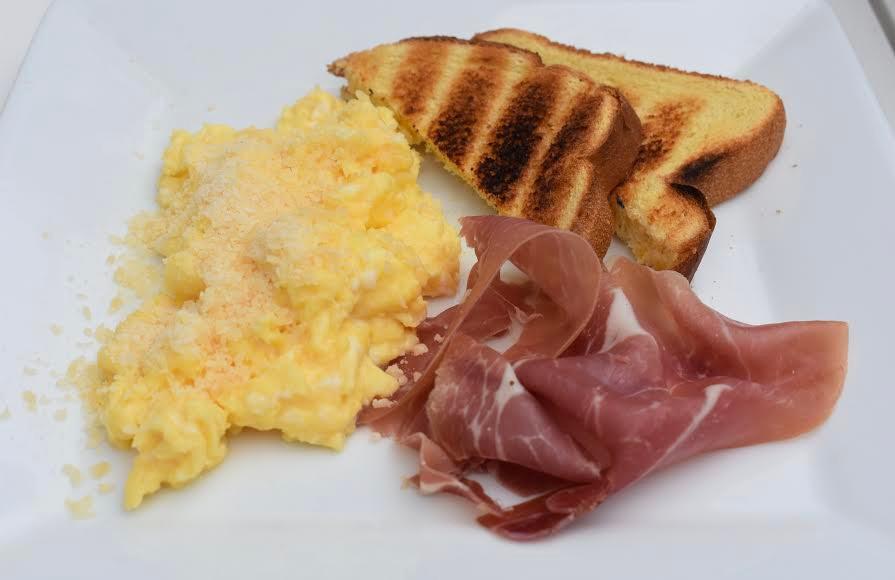 prosciutto & parmesan scramble