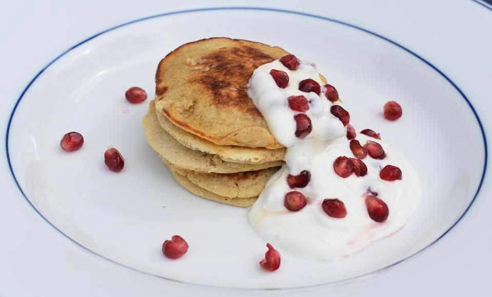 oat pancakes with pomegranate yogurt