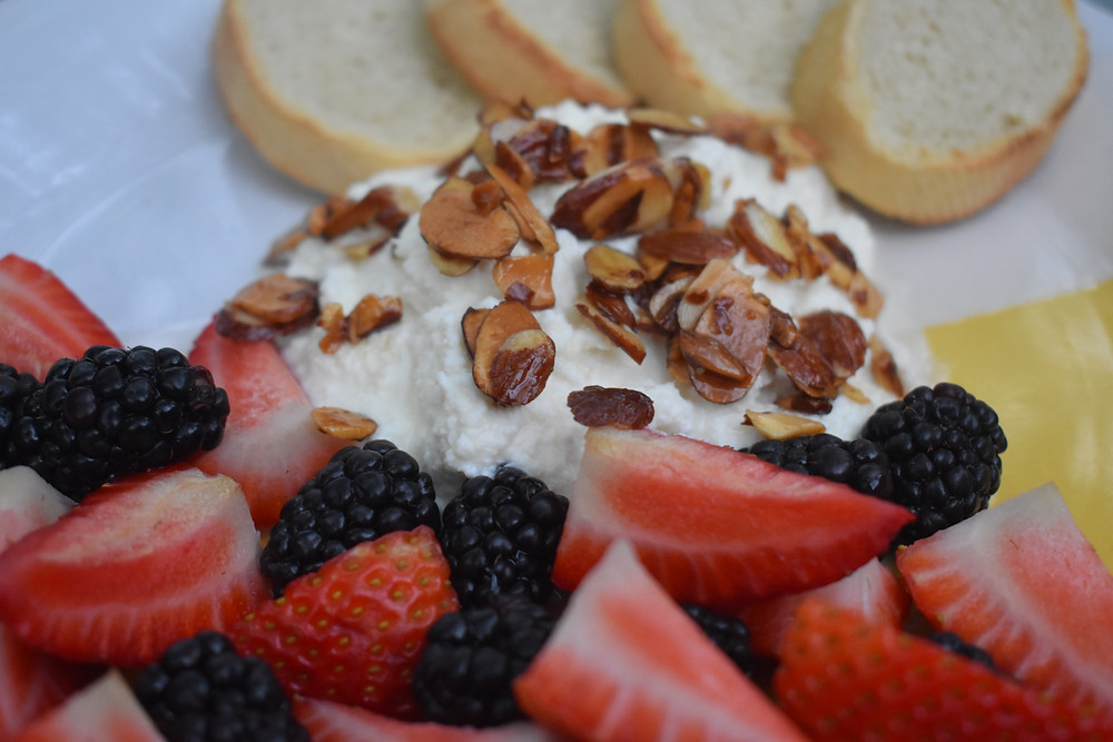 ricotta with berries & maple syrup almonds