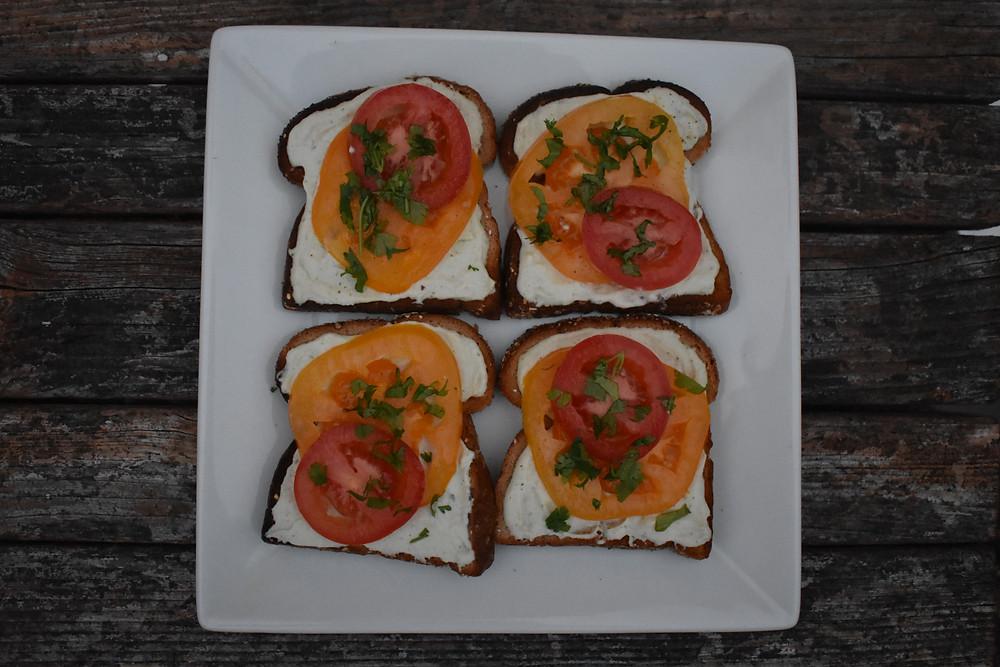 macadamia ricotta with tomato toast