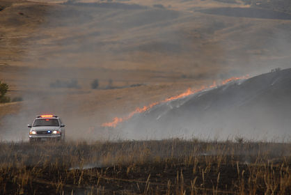 Fire fighters respond to a wildfire in Douglas County, CO.