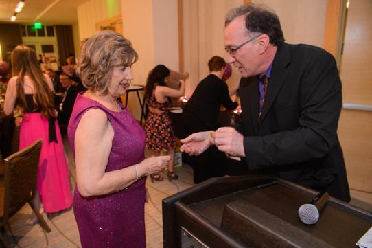 Carol Church and winning raffle ticket