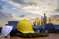 Oil refinery work Safety first  wearing