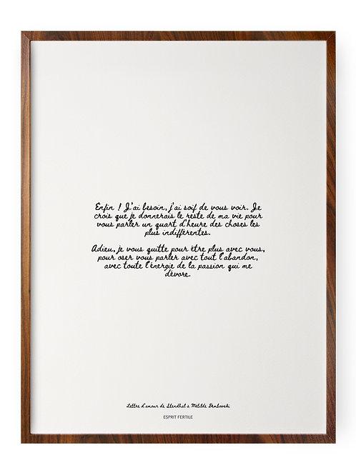 Lettre d'amour de Stendhal à Mathilde Dembovski