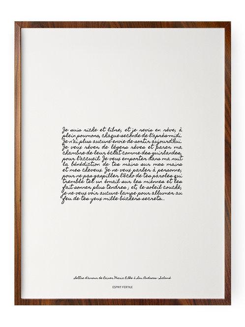 Lettre d'amour de Rainer Maria Rilke à Lou Andreas - Salomé