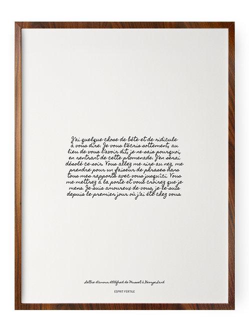 Lettre d'amour d'Alfred de Musset à George Sand