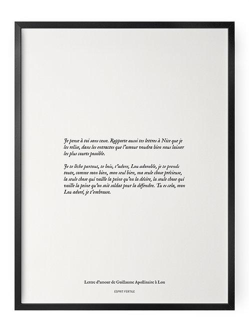 Lettre d'amour de Guillaume Apollinaire à Lou