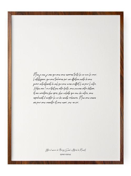 Lettre d'amour de George Sand à Alfred de Musset