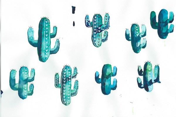 Fourth watercolor Cacti