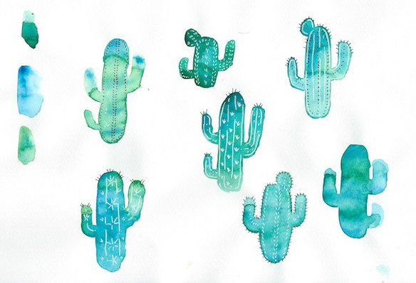First watercolor Cacti