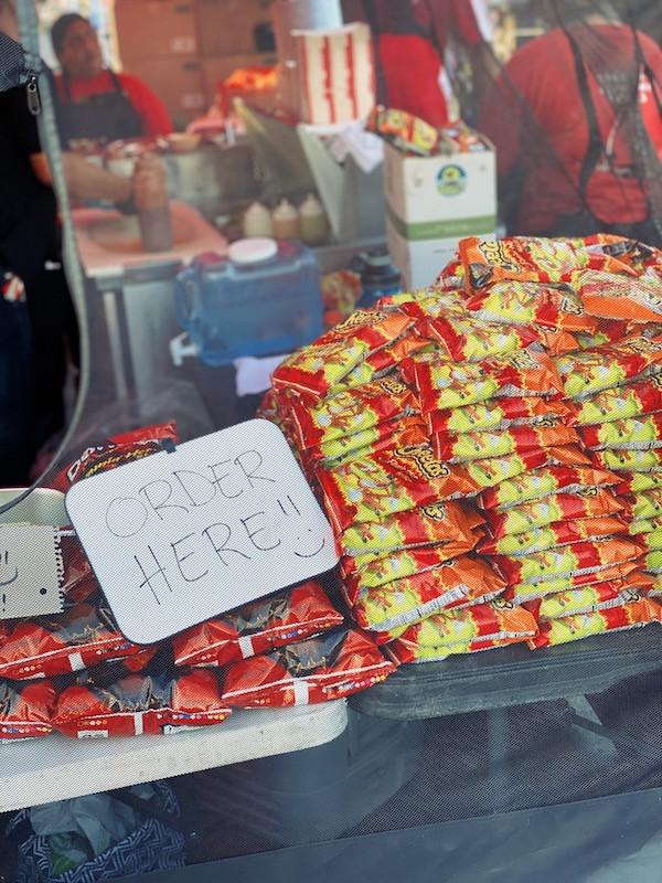 Bags of Hot Cheetos at Paraiso Juice Bar