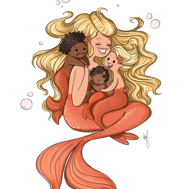 Mermaid Mom and kids comission