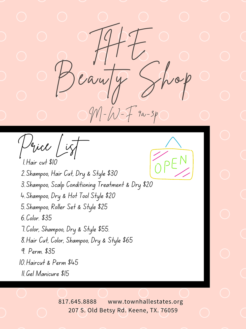 Town Hall Estates Keene Beauty Shop Price List