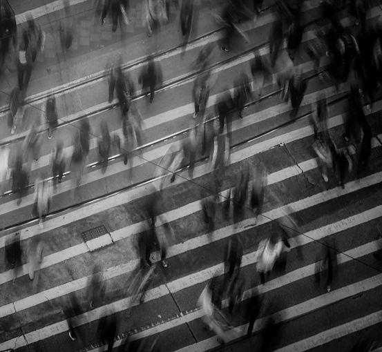 Busy city crosswalk