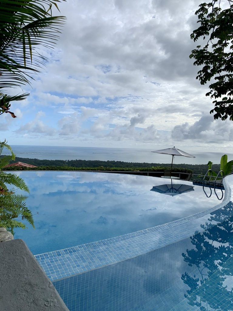 Pool overlooks Pacific Ocean in Uvita