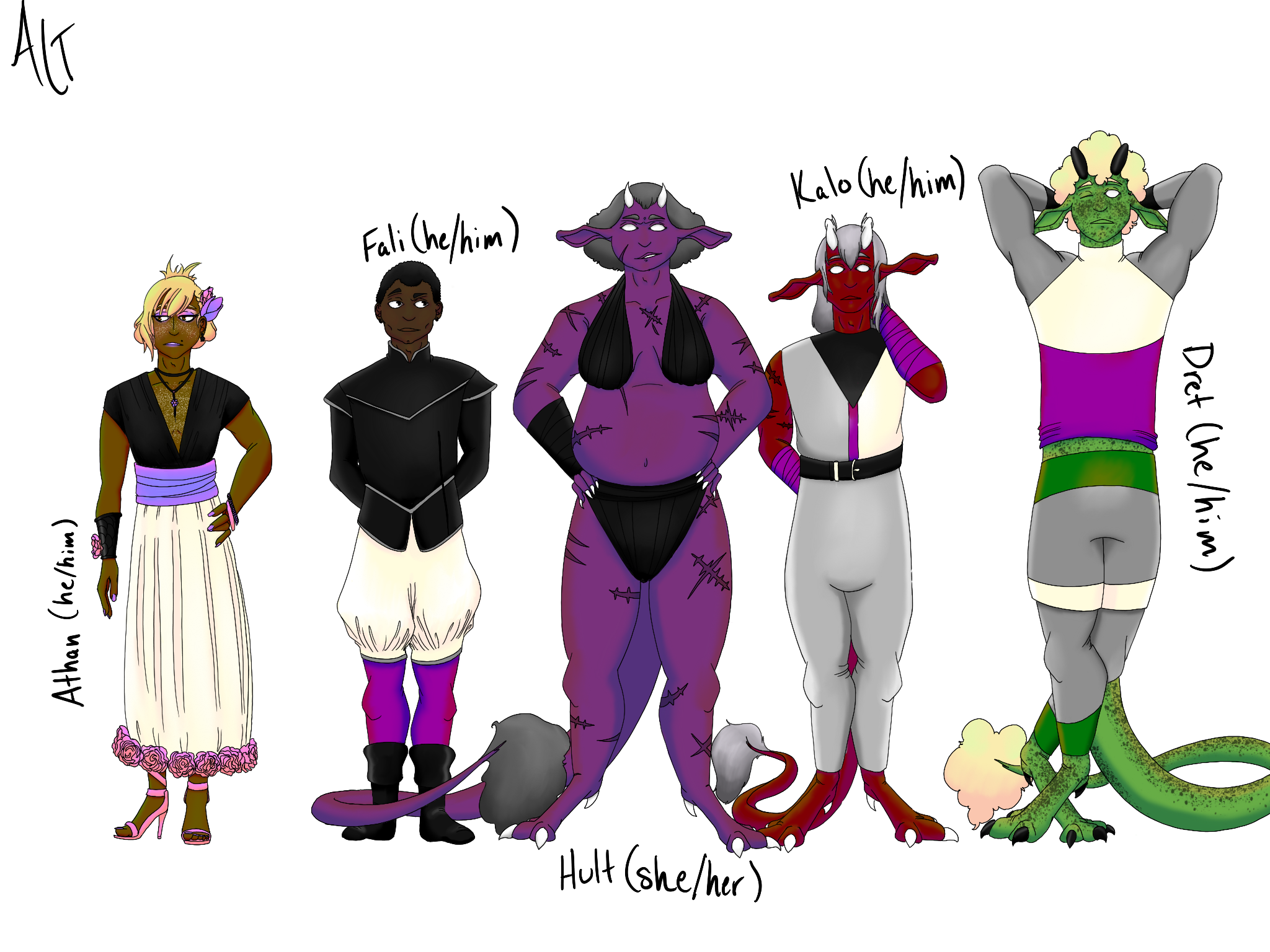 An illustration of a group of humans and devil-like people all wearing the colors of various aspec f