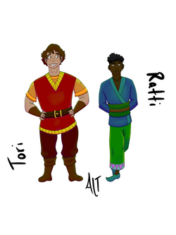 An illustration of a tan white man standing next to a brown skinned man.