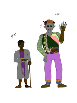 An illustration of a brown skinned man with short curly brown hair standing next to a large gray-ski