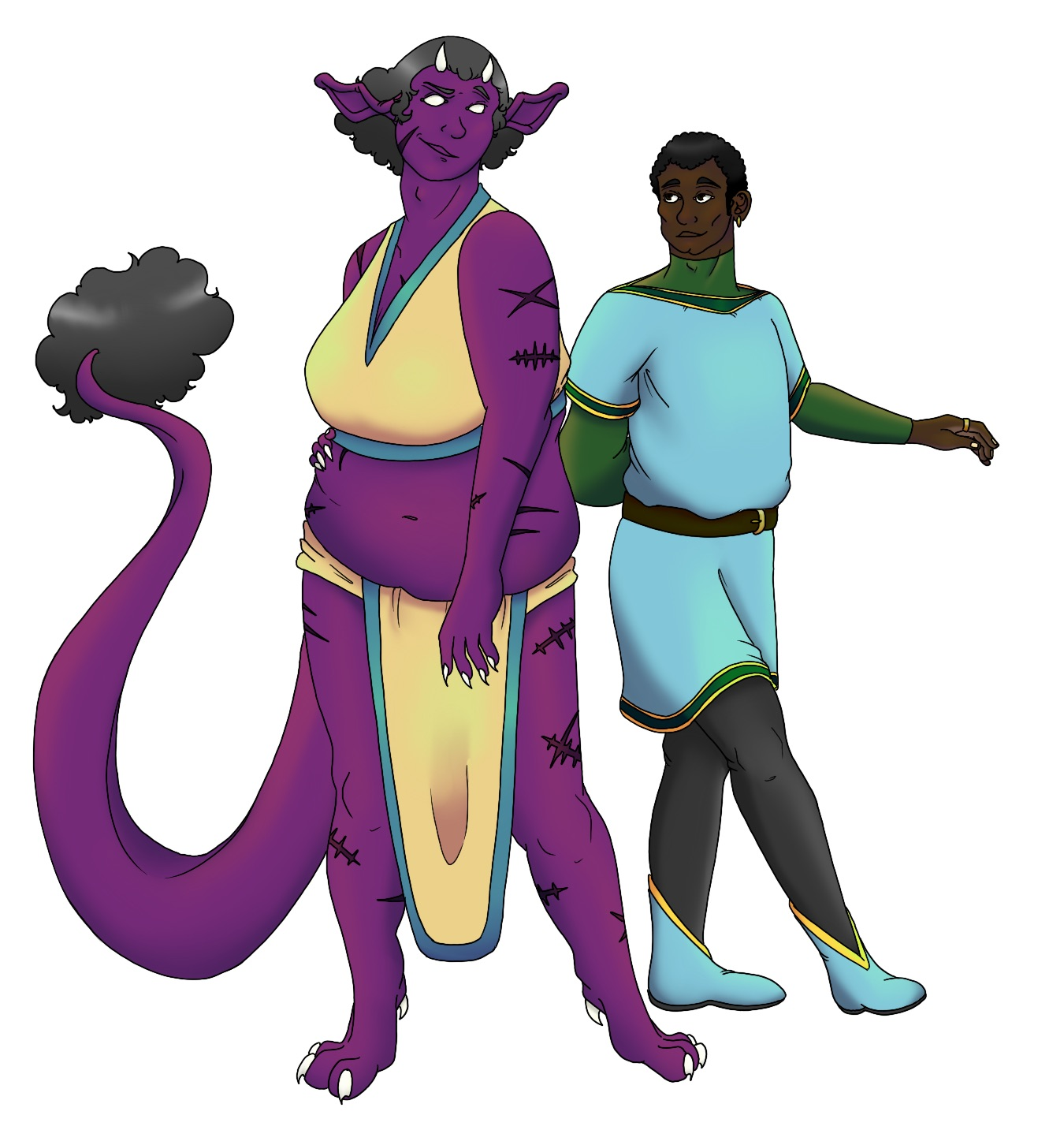 An illustration of a purple-skinned devil-like woman looking in amusement at a Black man in medieval