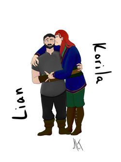 An illustration of a white man with short black hair side hugging a white woman with long red hair.