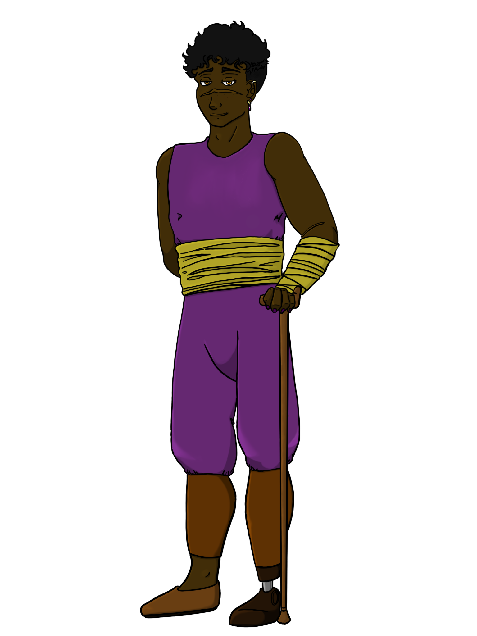An illustration of a brown skinned man with short curly brown hair and a wooden prosthetic leg.