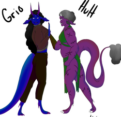 An illustration of a scarred purple-skinned woman balling her fist in the shirt of a blue-skinned de