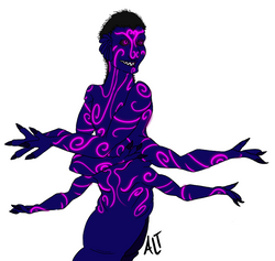 An illustration os a blue-skinned man from the torso up with six arms and covered in swirling purple