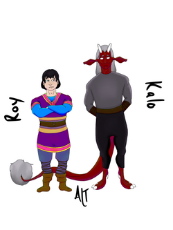 An illustration of a white man with black hair standing next to a red-skinned devil like man.