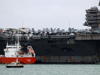 USS George H W Bush in the Solent