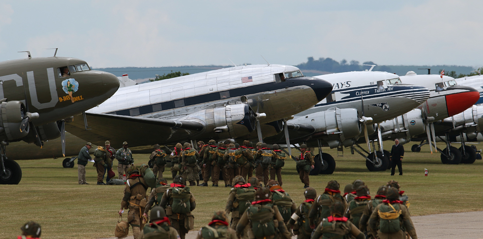 Troop loading Daks over Duxford June 201