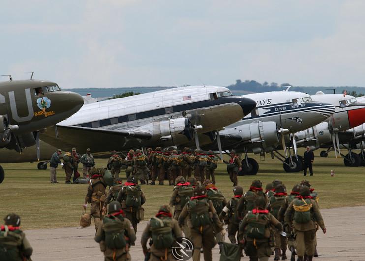 Troop loading Daks over Duxford June 201