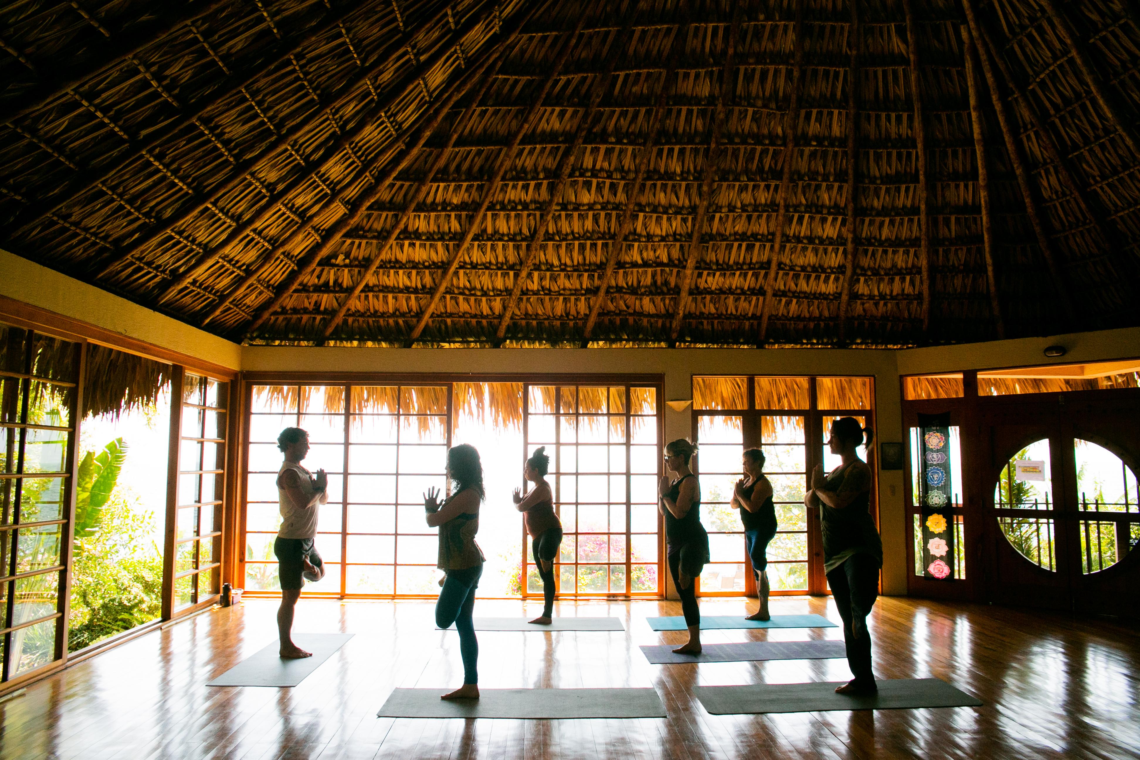 Tiger Temple yoga class