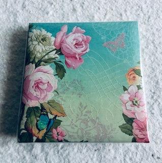 Notebook 150 feuilles avec stylo garden fleurs roses et blanche