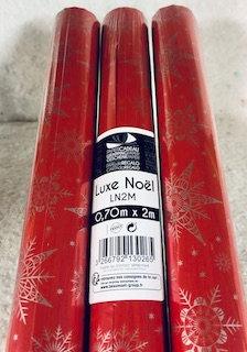 Papier cadeau Noël 0,70x2m Luxe Noël fond rouge