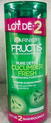 Lot de 2 Shampooings fortifiant Fructis Pure Detox Cucumber Fresh