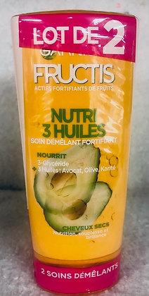 Lot de 2 Soins démêlants fortifiants Fructis Nutri 3 huiles