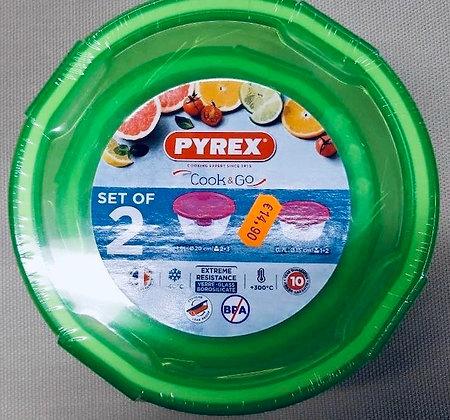 Set de 2 boites en verre Pyrex Cook&Go couvercles verts