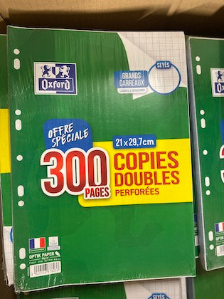 OXFORD - Copies doubles perforées 300 pages seyès - 90g