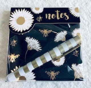 Carnet notebook avec stylonoir fleuret abeille
