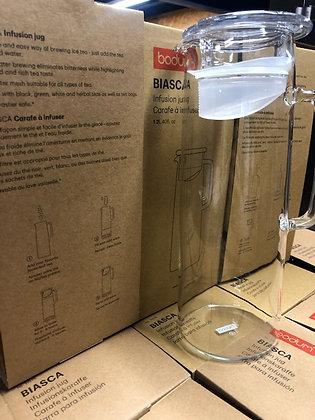 Pichet infuseur en verre, couvercle avec filtre, 1.2 l - Bodoum