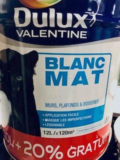 Peinture murs et plafonds  Mat Blanc 12 L Dulux Valentine