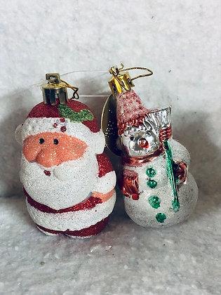 Décoration à suspendre rouge x2 père noël et bonhomme de neige