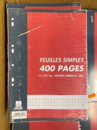 Lot de 300 feuilles simple 21x29,7cm Grand Carreaux 80Gr