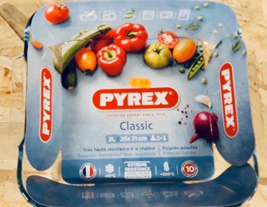 PYREX Plat à four en verre carré 25x21 cm 2L CLASSIC