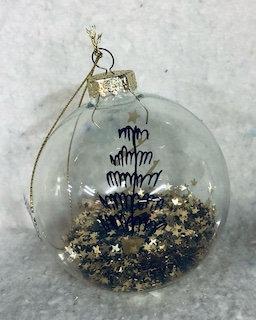 Boule de Noël en verre avec paillettes