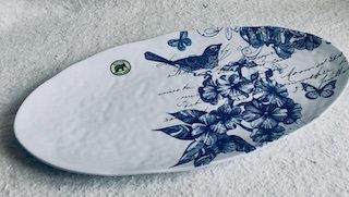 Plat de service 48x25cm indigo cotton Mélamine